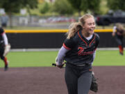 Battle Ground's Rylee Rehbein celebrates after getting her 10th strikeout to end the game in the 4A/3A Greater St. Helens League district championship game on Saturday, June 5, 2021, at Camas High School. Battle Ground defeated Mountain View 8-0 to take the title.