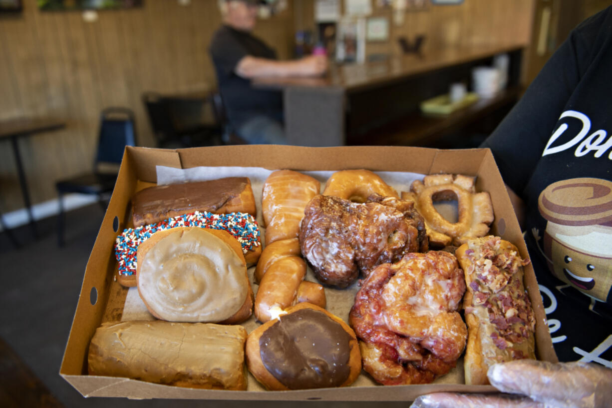 An assortment of doughnuts is displayed at the Donut Nook on June 4, National Doughnut Day.