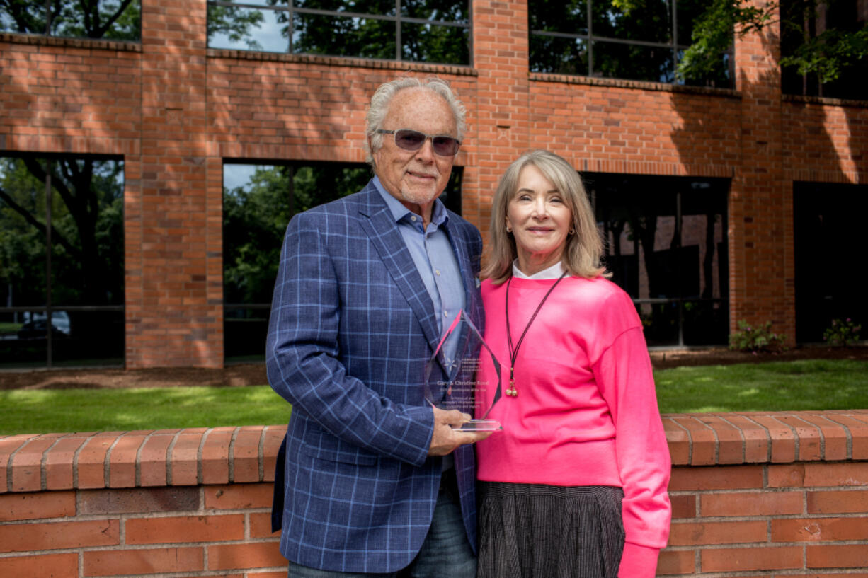 Gary and Christine Rood accept the 2021 Philanthropists of the Year Award from the Community Foundation for Southwest Washington.