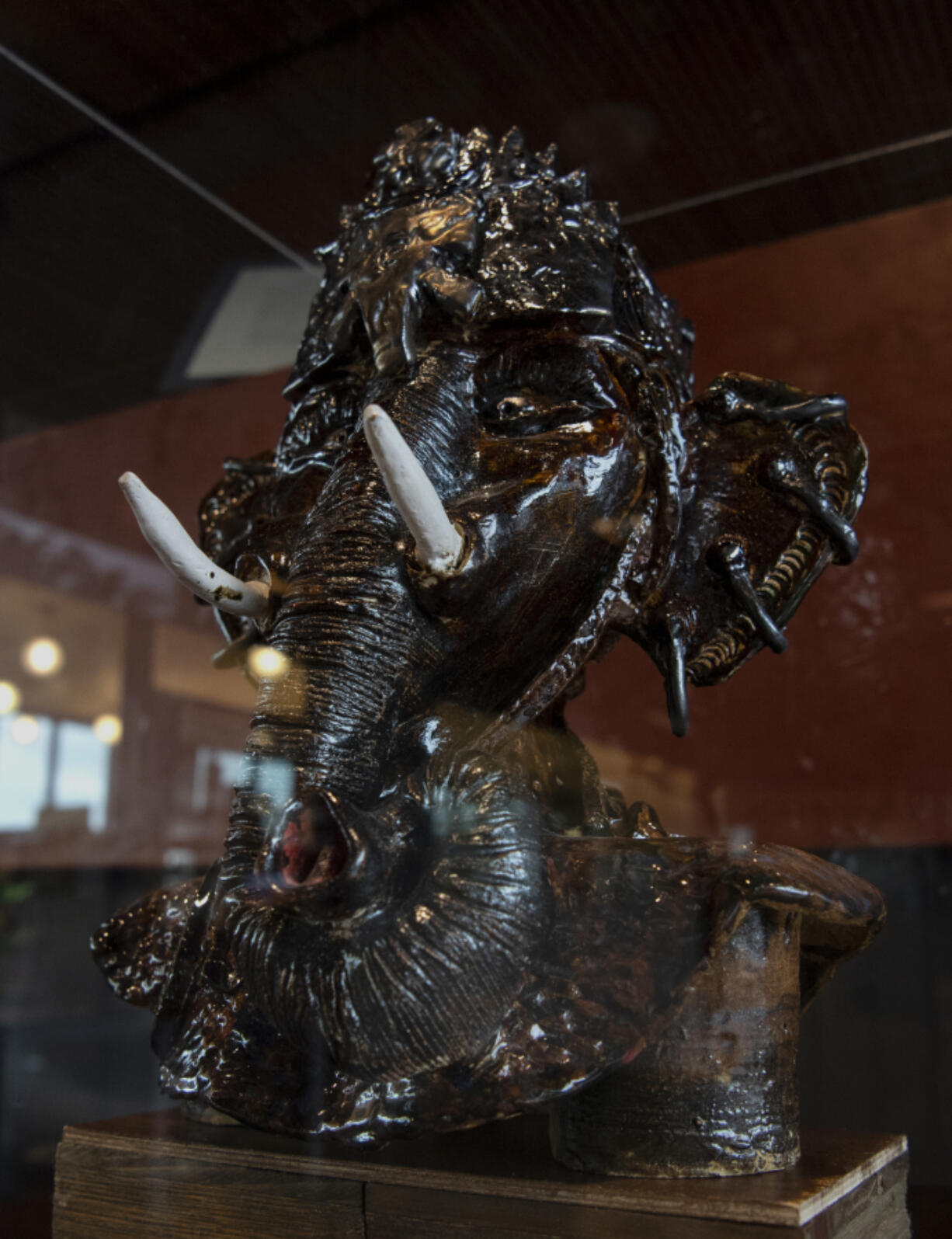 Claudia Carter's Elephant Goddess sculpture sits behind a glass case in the Vancouver Community Library's fifth-floor Vancouver Room. Carter is known for creating an annual Black History Month exhibit at the library.