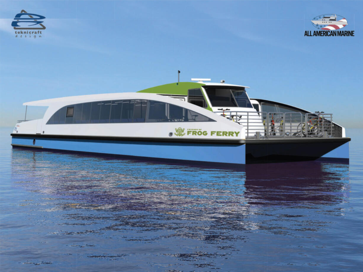 Conceptual renderings detail the envisioned design of the prototype Frog Ferry vessel, which will be built by All American Marine, based in Bellingham. The 65-foot vessel would be short enough to fit under Portland's Steel Bridge without requiring a bridge lift on most days.