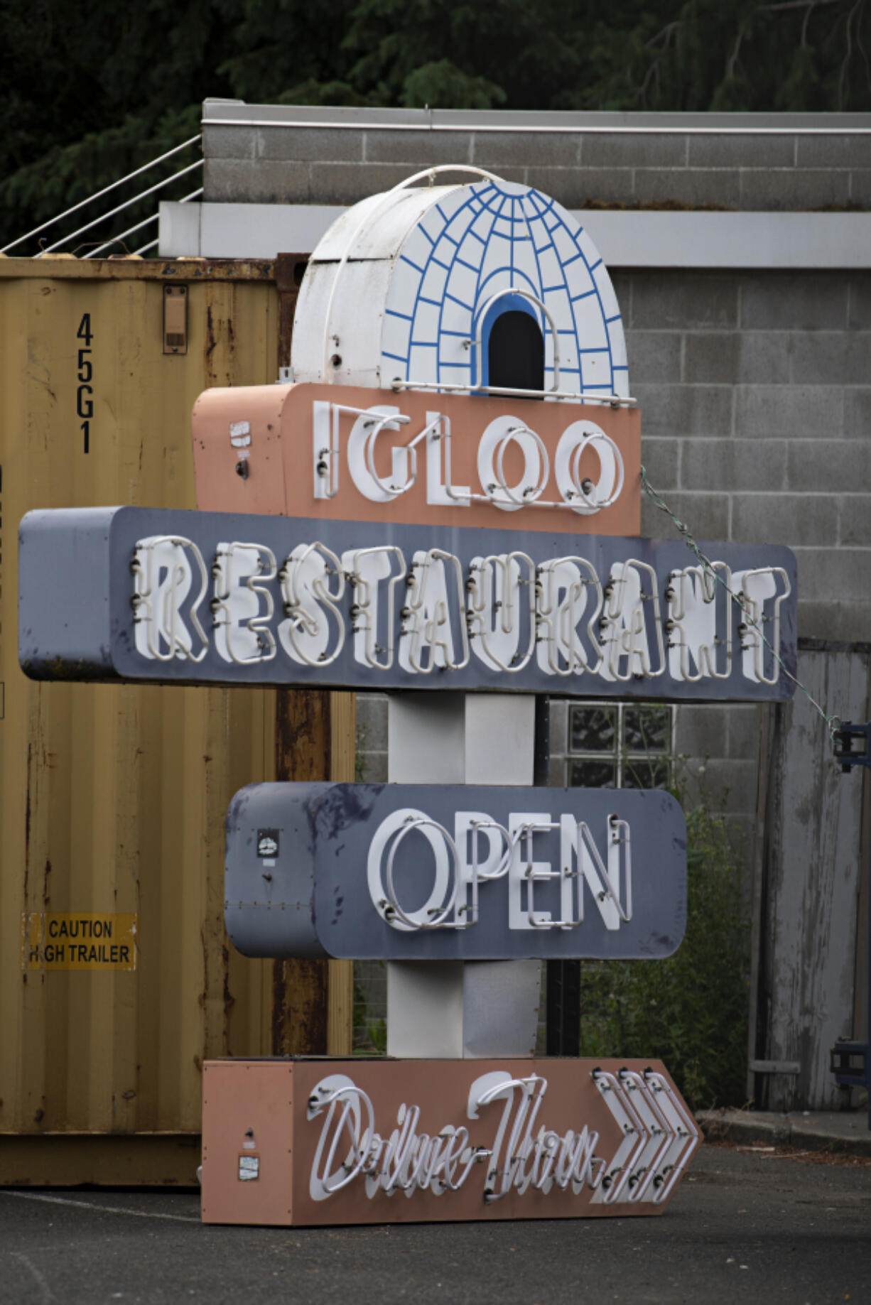 The sign for the former Igloo Restaurant is seen on the ground June 10. The iconic building that housed the Igloo, a vintage neighborhood diner, has seen its last days as a landmark restaurant.