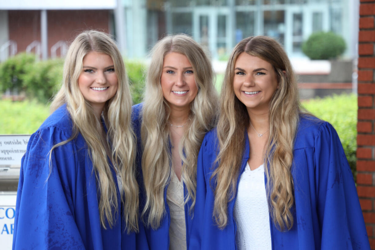 Three sisters -- from left, Marley Foster, 19; Carrigan Foster, 20; and McKelvey Foster, 21 -- will graduate together today as part of Clark College's Class of 2021.
