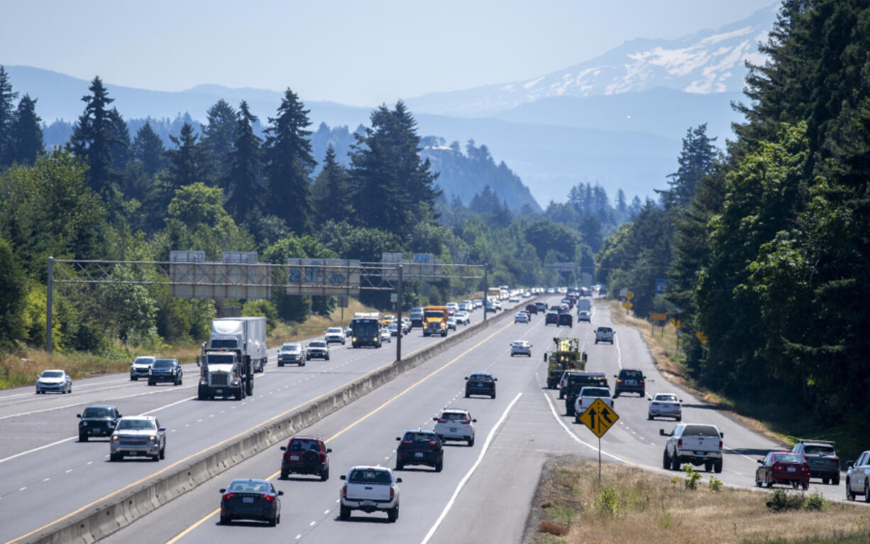 Traffic travels east on state Highway 14, right, as the highway is looking east at Interstate 205 Monday morning. WSDOT is plans to add a lane in each direction to a portion of the highway next year to ease congestion.