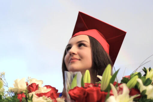 """Contributed photo Medina Jasarevic delivered Fort Vancouver High School's graduation speech June 14 at the Clark County Fairgrounds. The speech has gained international attention and drawn more than 300,000 views on social media and Bosnian media outlets. """"My emotions are all over the place,"""" the 18-year-old said. """"I never expected this."""" (Contributed photo)"""