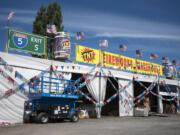 The TNT Fireworks Warehouse tent sits under sunshine on Thursday.