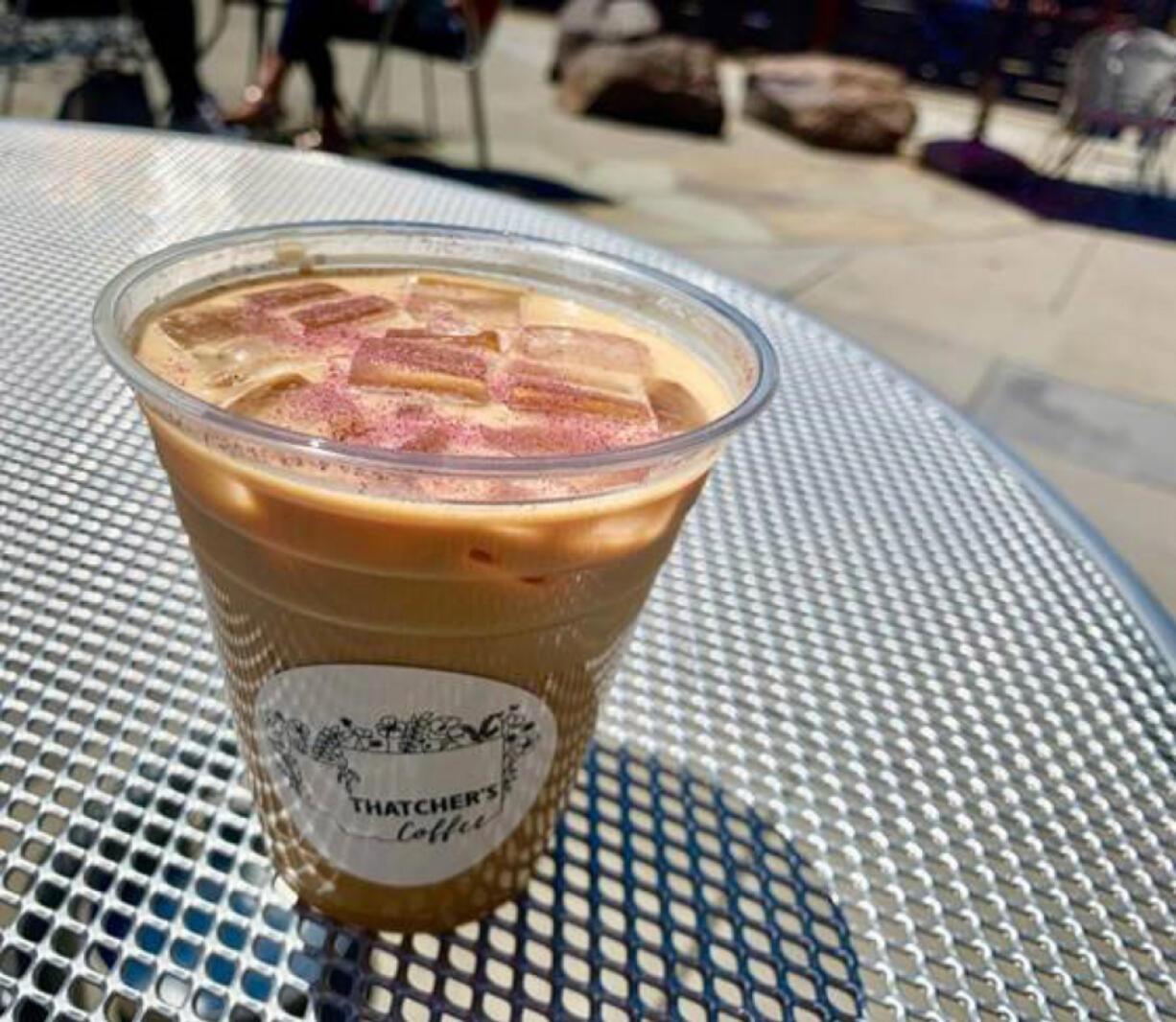 Vanilla Rose Latte at Thatcher's Coffee.