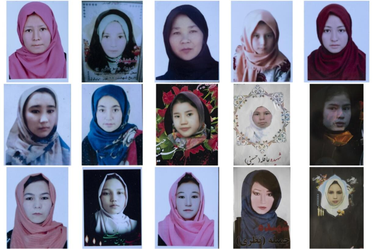 This combination photo shows portraits of Afghan Hazara schoolgirls who were among nearly 100 people killed in bombing attacks outside their school on May 8, 2021. After the collapse of the Taliban 20 years ago, Afghanistan's ethnic Hazaras began to flourish and soon advanced in various fields, including education and sports, and moved up the ladder of success. They now fear those gains will be lost to chaos and war after the final withdrawal of American and NATO troops from Afghanistan this summer.