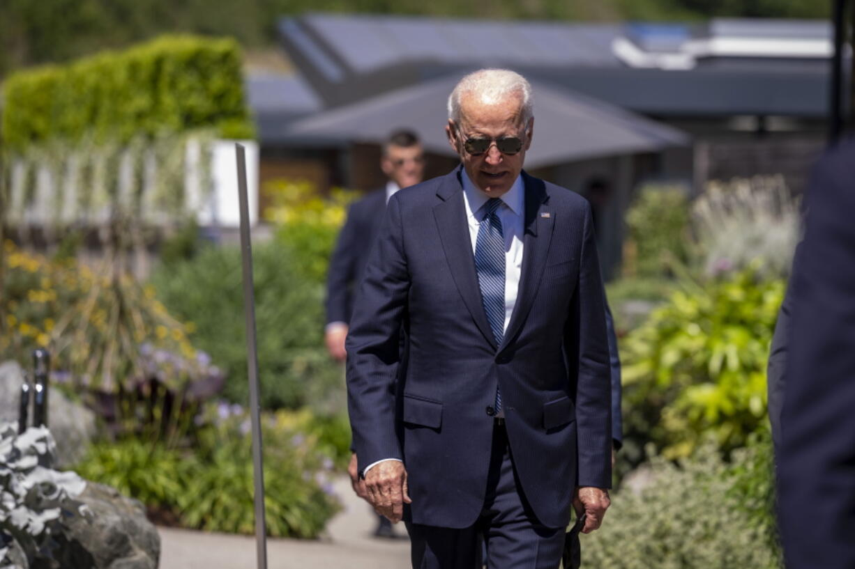 President Joe Biden arrives for the final session of the G-7 summit in Carbis Bay, England, Sunday, June 13, 2021.