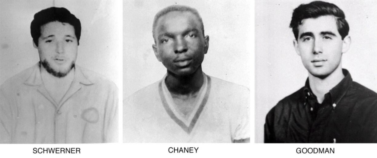 FILE - On June 29, 1964, the FBI began distributing these pictures of civil rights workers, from left, Michael Schwerner, 24, of New York, James Cheney, 21, from Mississippi, and Andrew Goodman, 20, of New York, who disappeared near Philadelphia, Miss., June 21, 1964. Never before seen case files, photographs and other records documenting the investigation into the infamous slayings of the three civil rights workers in Mississippi are now open to the public announced on Monday, June 21, 2021, for the first time, 57 years after their deaths. The 1964 killings of civil rights activists Chaney, Goodman, and Schwerner in Neshoba County sparked national outrage and helped spur passage of the 1964 Civil Rights Act.
