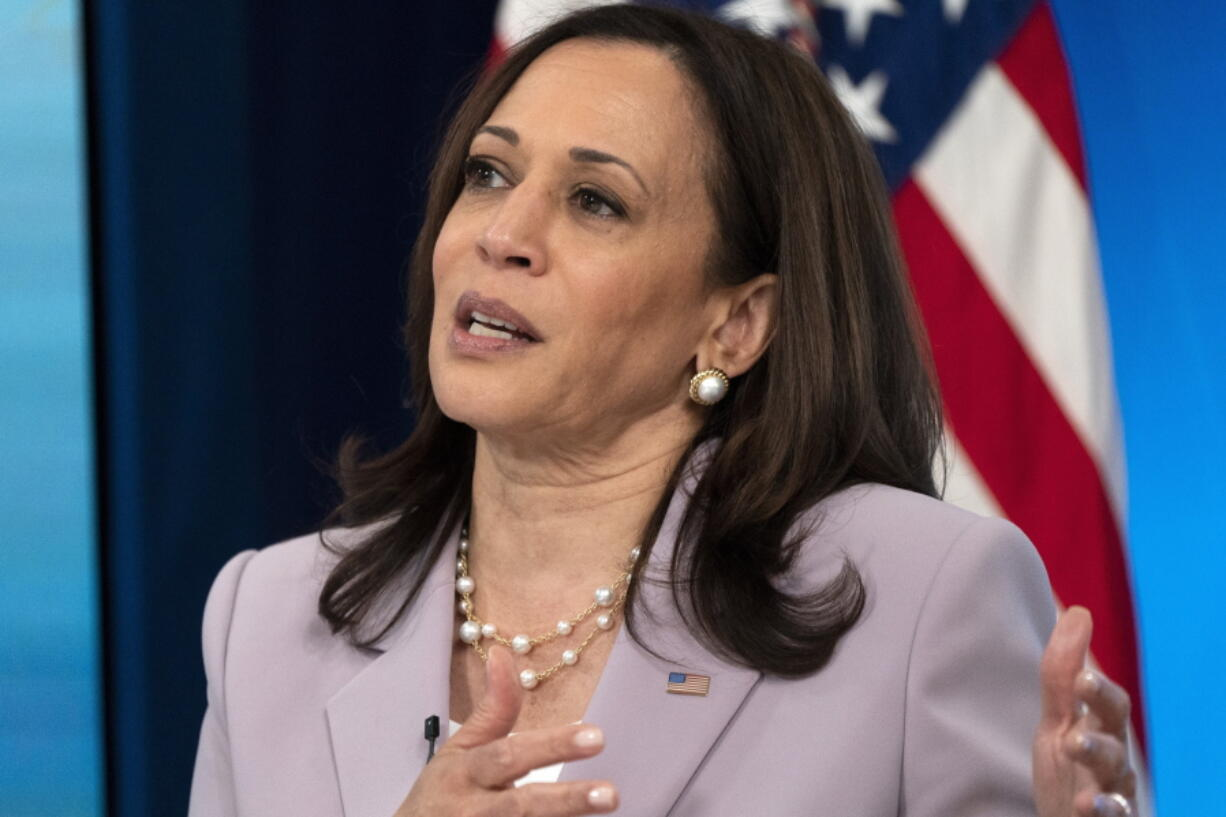 Vice President Kamala Harris speaks about voting rights, Wednesday, June 23, 2021, from the South Court Auditorium on the White House complex in Washington.