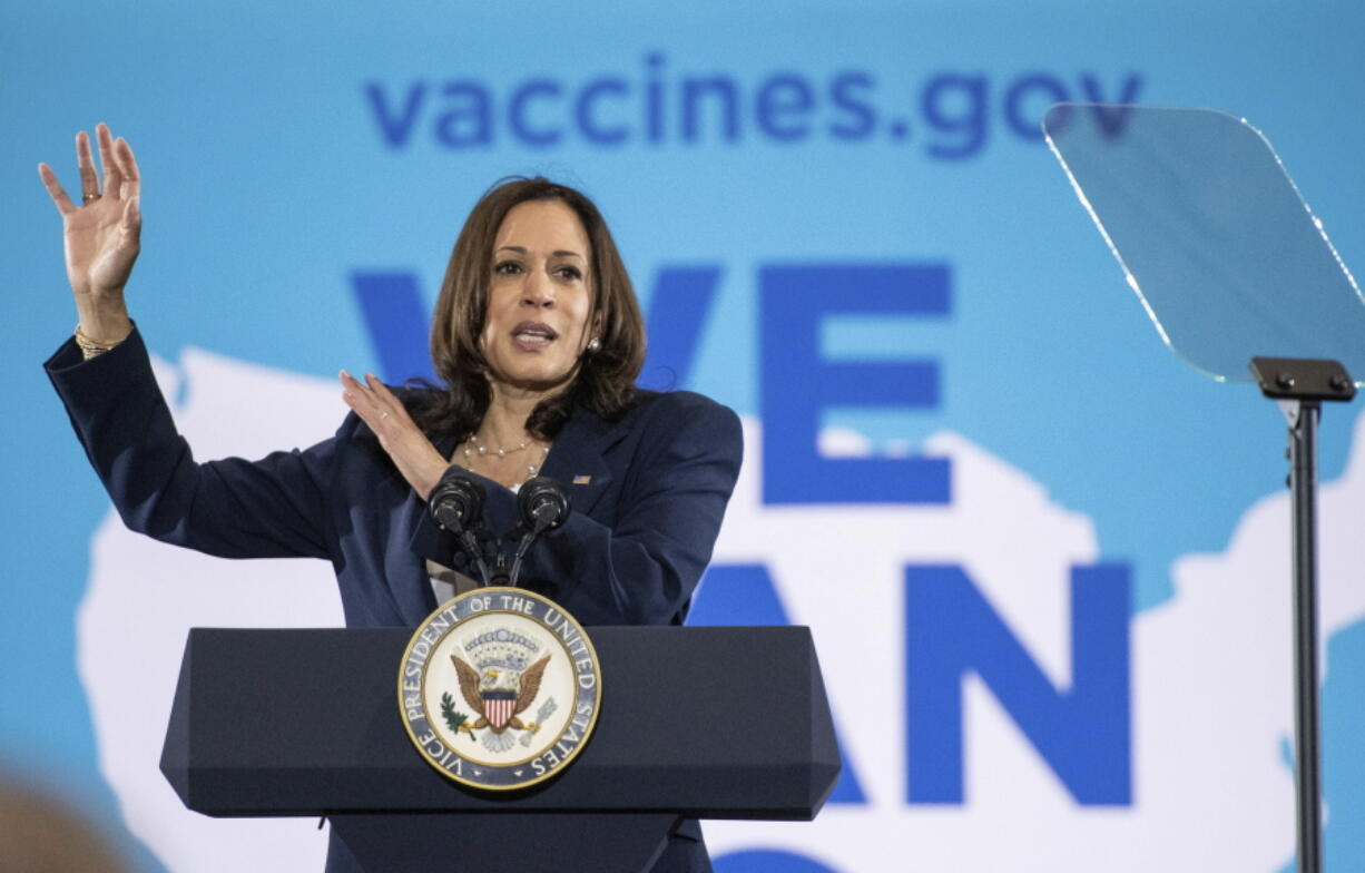 Vice President Kamala Harris speaks at the Phillis Wheatley Community Center in Greenville, S.C. on Monday, June 14, 2021, about the importance for everyone to get vaccinated for COVID-19. (John A.