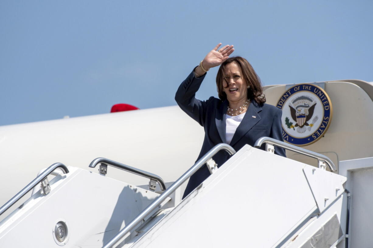 Vice President Kamala Harris arrives at Greenville-Spartanburg International Airport in S.C., on Monday, June 14, 2021. Harris is stopping in South Carolina to kick off a nationwide push by the White House to get more Americans vaccinated against COVID-19 before the July 4 holiday.  (John A.