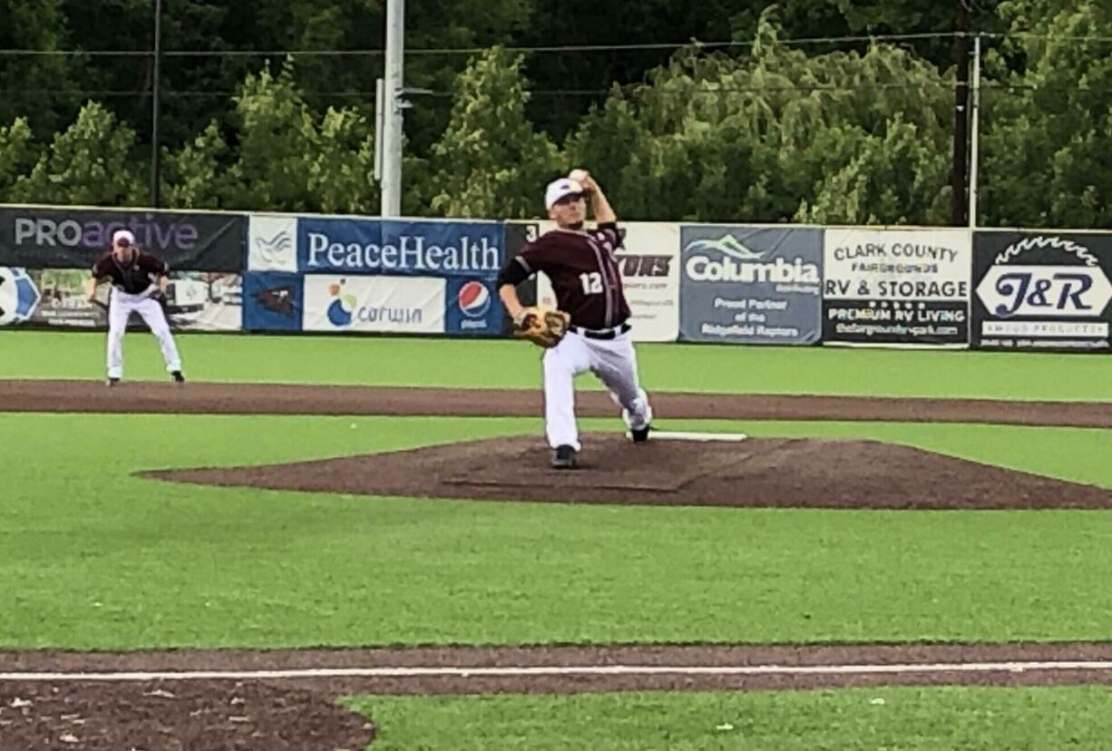Ridgefield Raptors starting pitcher Nick Nygard, a Columbia River grad, pitches against the Bend Elks on Saturday at Ridgefield Outdoor Recreation Complex.