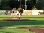 Ridgefield Raptor pitcher Nate Weeldreyer pitched five strong innings in a 13-5 win over the Yakima Valley Pippins on Wednesday in Ridgefield (Micah Rice/The Columbian)