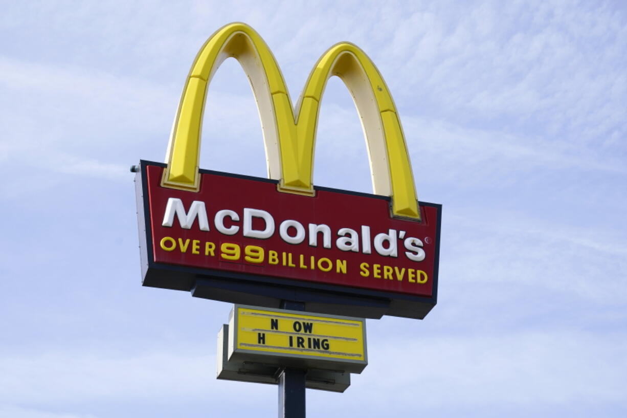 A sign is displayed outside a McDonald's restaurant, Tuesday, April 27, 2021, in Des Moines, Iowa.  McDonald's is the latest company to be hit by a data breach, saying there was unauthorized activity on its network that exposed the personal data of some customers in South Korea and Taiwan. McDonald's Corp. said in a statement Friday, June 11,  that it quickly identified and contained the incident and that a thorough investigation was done.