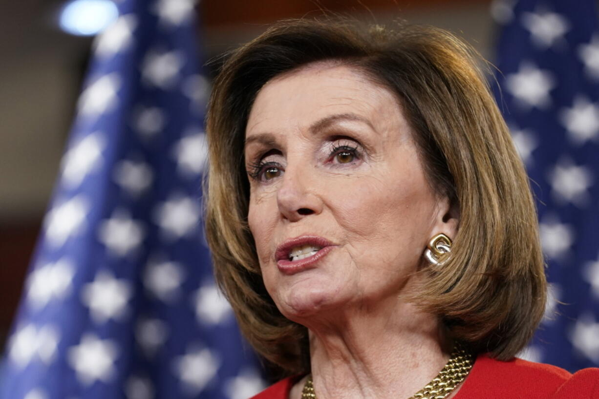 In this May 13, 2021 photo, House Speaker Nancy Pelosi of Calif., speaks during a news conference on Capitol Hill in Washington. Democrats are committed to passing legislation this year to curb prescription drug prices. In the House, Speaker Nancy Pelosi is pushing legislation that imposes a steep tax on drugmakers refusing to deal with Medicare.