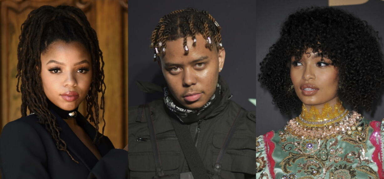 """Chloe Bailey of the sister duo Chloe x Halle, from left, rapper YBN Cordae and actor and activist Yara Shahidi, who will be featured in a new EP about the Black experience. """"Music for the Movement Volume III -- Liberated,"""" which was released Friday, is the third volume in Disney's four-part series of EPs honoring Black lives and social justice."""