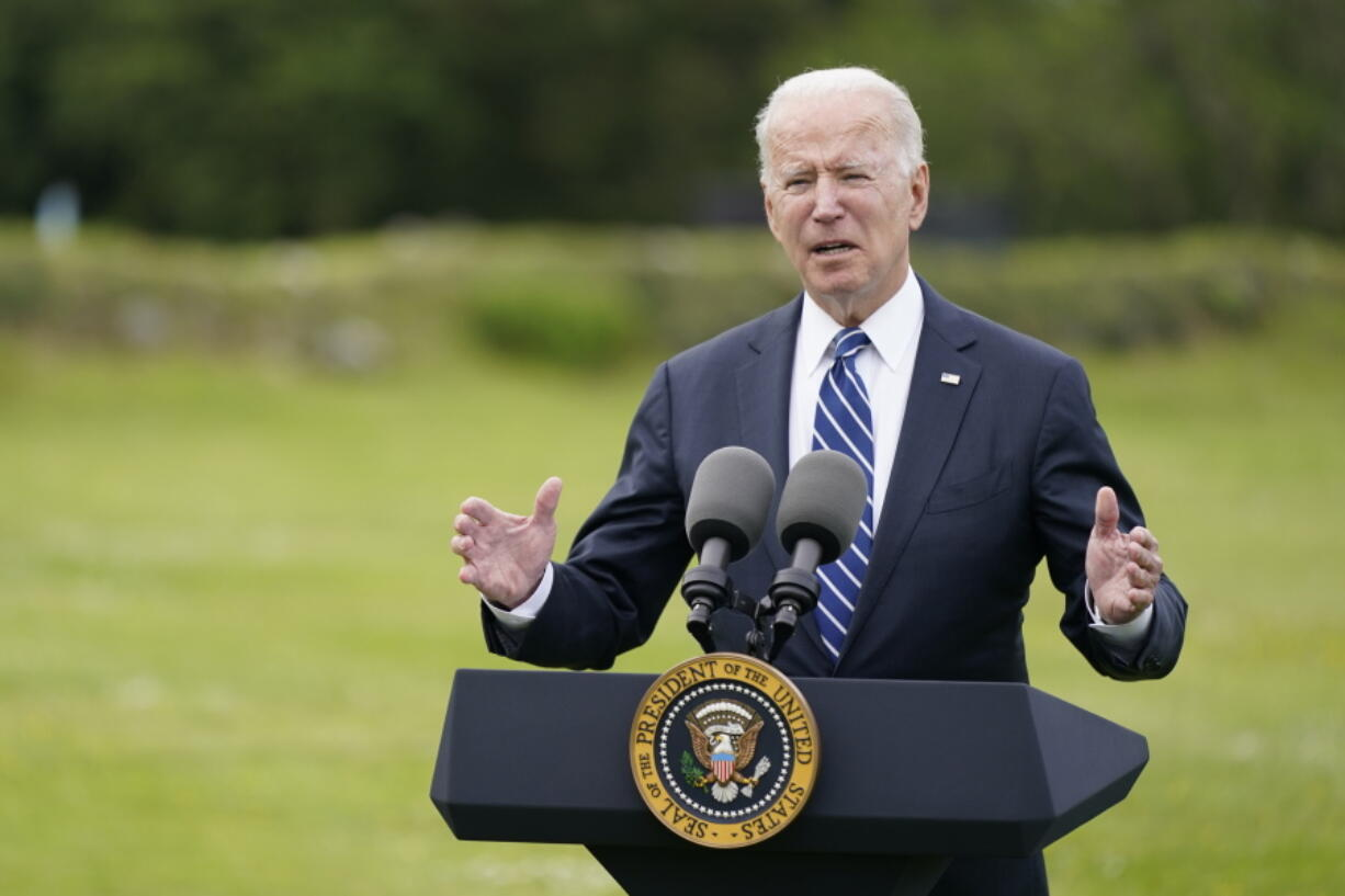 """FILE - In this June 10, 2021, file photo, President Joe Biden speaks ahead of the G-7 summit in St. Ives, England. Biden and his NATO counterparts bid a symbolic farewell to Afghanistan on Monday, June 14, in their last summit before America winds up its longest """"forever war"""" and the military pulls out for good."""