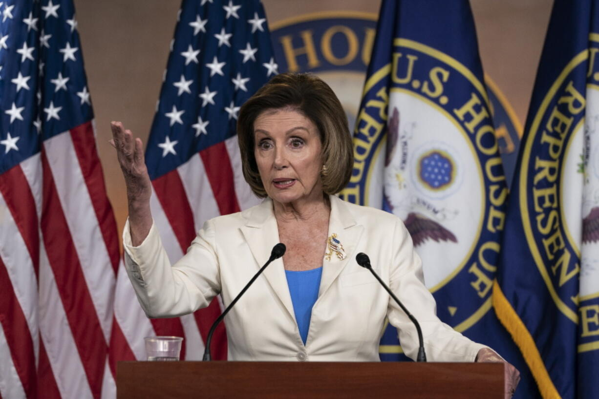 House Speaker Nancy Pelosi of Calif., speaks during a media availability at the Capitol in Washington, Thursday, June 24, 2021. Pelosi announced on Thursday that she's creating a special committee to investigate the Jan.