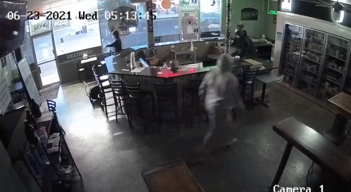 Five people broke into Liquid Gold on Fourth Plain in east Vancouver on Wednesday morning. (Screenshot from security video provided by Clark County Sheriff's Office.
