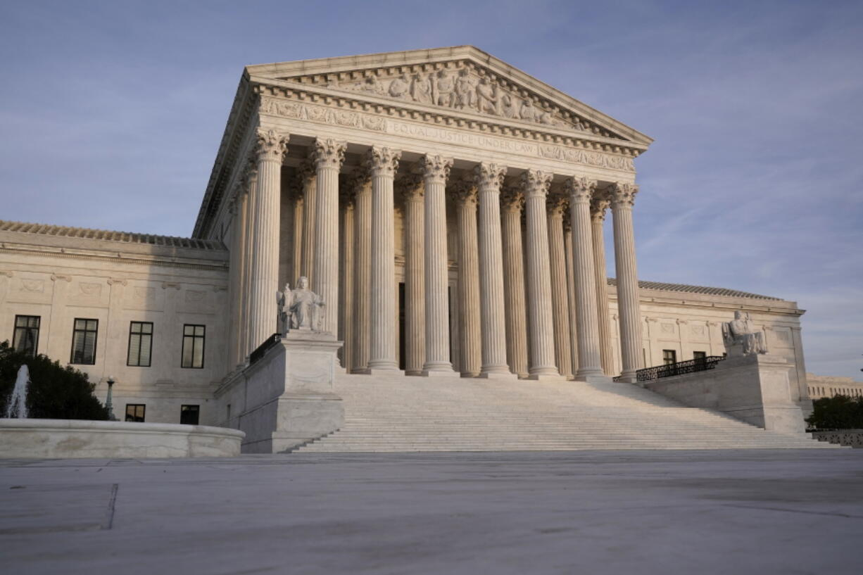 In this Nov. 5, 2020 file photo, The Supreme Court is seen in Washington. (AP Photo/J.