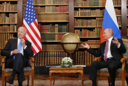 U.S. President Joe Biden, left, and Russia's President Vladimir Putin, right, meet for the U.S.-Russia summit at Villa La Grange in Geneva, Switzerland, Wednesday, June 16, 2021.