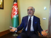 Abdullah Abdullah, head of Afghanistan's National Reconciliation Council, gestures as he talks to The Associated Press following an interview on the sidelines of a diplomatic forum in Antalya, Turkey, Friday, June 18, 2021. Abdullah expressed concerns hat the Taliban will have no interest in a political settlement with the U.S.-supported government in Kabul following the departure of U.S. and NATO forces. By Sept. 11 at the latest, around 2,300-3,500 remaining U.S. troops and roughly 7,000 allied NATO forces are scheduled to leave Afghanistan,, ending nearly 20 years of military engagement.