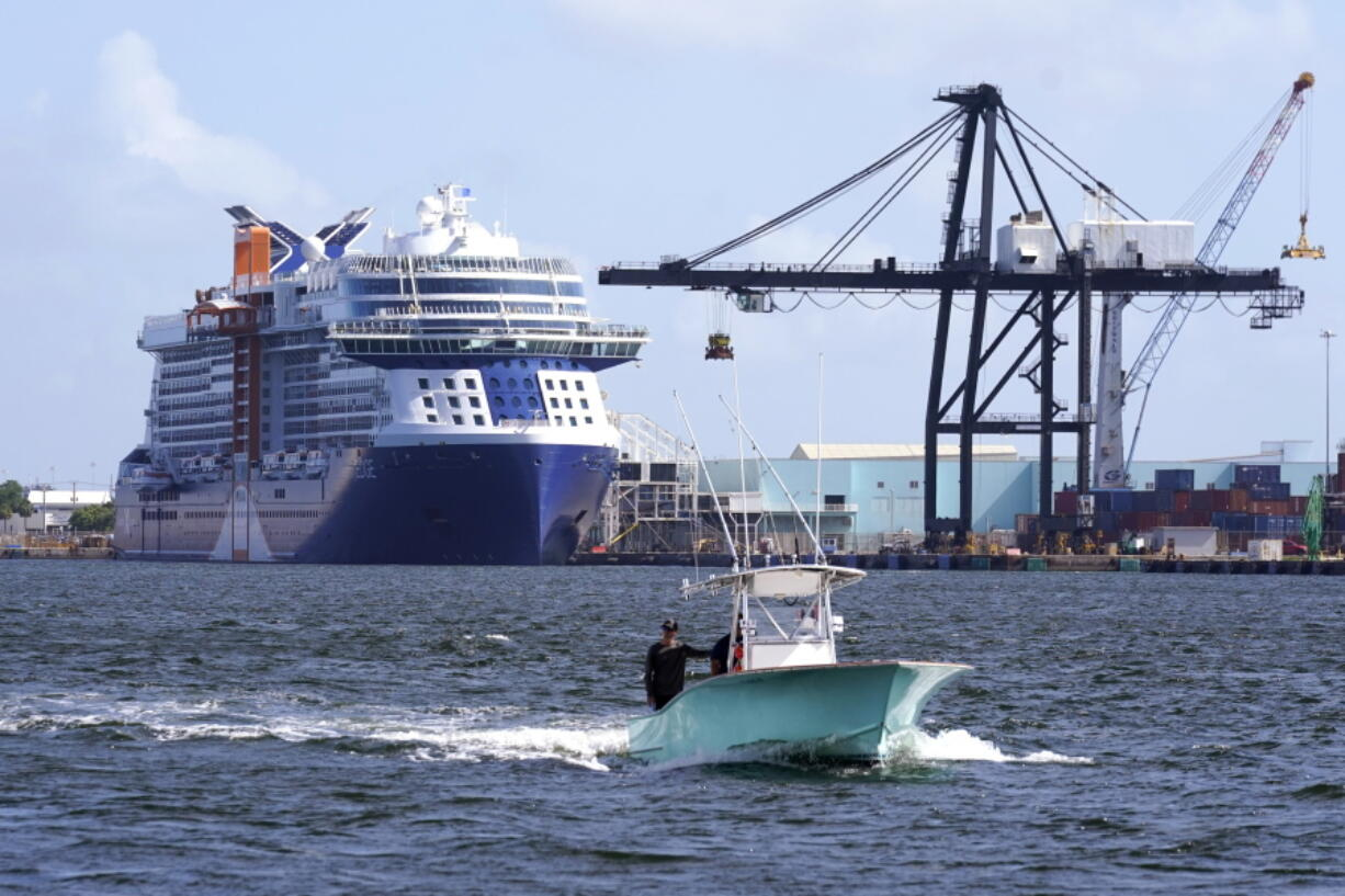 The Celebrity Edge cruise ship is docked at Port Everglades, Tuesday, June 22, 2021, in Fort Lauderdale, Fla. The Celebrity Edge is set to sail on Saturday from Fort Lauderdale. It will be the first cruise ship to leave a U.S. port with ticketed passengers since the onset of the pandemic, which halted sailing.