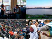 Top left: Rob Henning and Dana Hunter, Ellensburg locals and long-time Red Pickle regulars on Sept. 9, 2020. (Emily McCarty/Crosscut) Top right: People gather at Gas Works Park on Thursday, April 9, 2020 in Seattle. (Sarah Hoffman/Crosscut) Bottom left: Reign FC plays the Portland Thorns FC at Cheney Stadium in Tacoma on Sunday, Sept. 29, 2019. (Jovelle Tamayo for Crosscut) Bottom right: Iman Hassan of Seattle receives her first dose of the COVID-19 vaccine at Lumen Field Event Center's COVID-19 vaccination site on March 13, 2021. (Matt M.