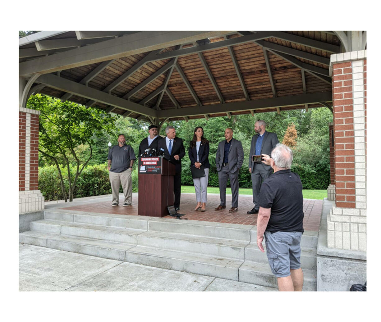 3rd District Rep. Jaime Herrera Beutler, R-Battle Ground, center, participates in a press conference regarding law enforcement issues Thursday in Fairview, Ore.
