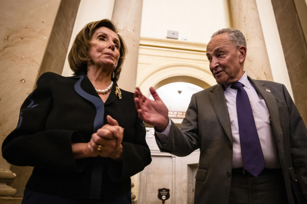 Top Democrats such as Senate Majority Leader Charles E. Schumer (right) of New York and Speaker Nancy Pelosi of California support repealing the SALT cap because it would benefit their constituents.
