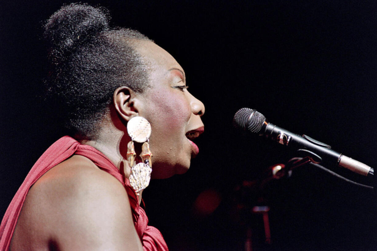 """U.S. jazz and blues singer Nina Simone in concert at the Olympia music hall in Paris on Oct. 22, 1991. Simone is the subject of the 2015 documentary film """"What Happened, Miss Simone?"""" directed by Liz Garbus."""