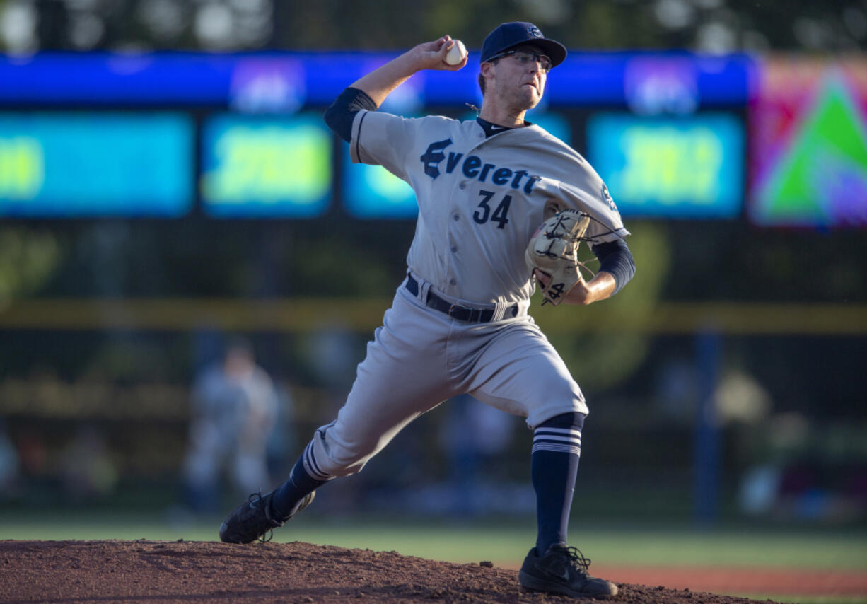 Damon Casetta-Stubbs saw action with the Everett AquaSox in 2019. He was with the Seattle Mariners Low-A team in Modesto, Calif., when he was traded to the Cleveland Indians on Friday, July 9, 2021.