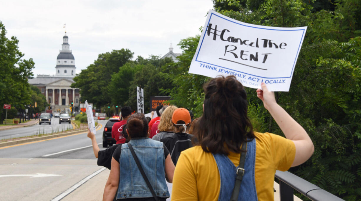 Tenants and advocates march from Annapolis District Court to the Governor's Mansion to urge Gov. Larry Hogan to protect renters in Maryland from eviction in June 2020.
