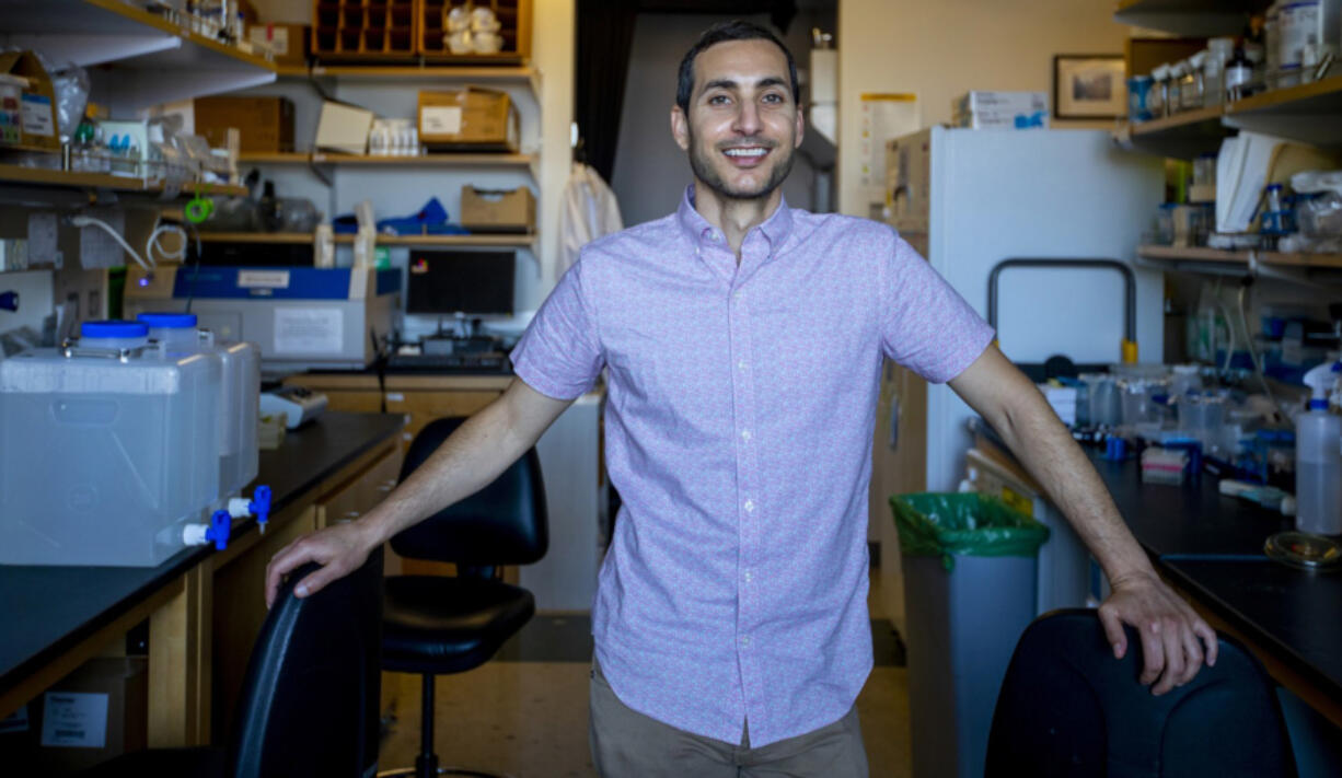 Andrew Goldstein, 38, in his lab at UCLA on Monday, June 28, 2021 in Westwood, California. Goldstein is a biology professor and is participating in a study that could lead the FDA to reassess its restrictions on gay men donating blood.