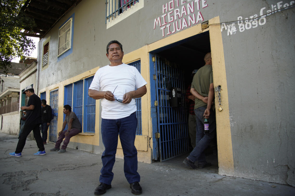 Jose Maria Garcia Lara stands in front of a migrant shelter for adult men that he oversees in Zona Norte in Tijuana.
