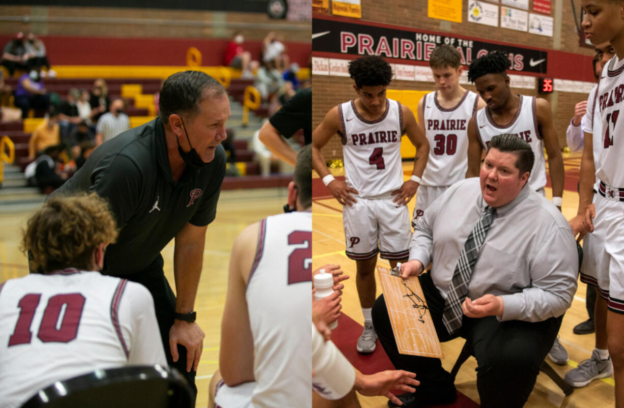 Recently retired Prairie boys basketball coach Kyle Brooks (left) and his longtime assistant and the new Prairie boys coach Jimmy Tuominen (right) will both be honored by the Washington Interscholastic Basketball Coaches Association on Thursday, July 22, 2021.
