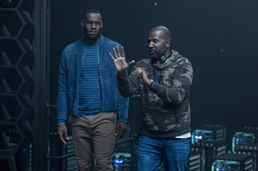 """Director Malcolm D. Lee, right, with LeBron James on the """"Space Jam: A New Legacy"""" set. (Justin Lubin/Warner Bros."""