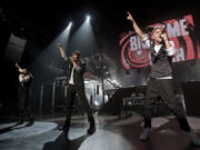 Big Time Rush performs during the group's sold-out show at the Gibson Amphitheatre at Universal Studios Hollywood in Universal City, California, on Feb. 18, 2012. (Allen J.