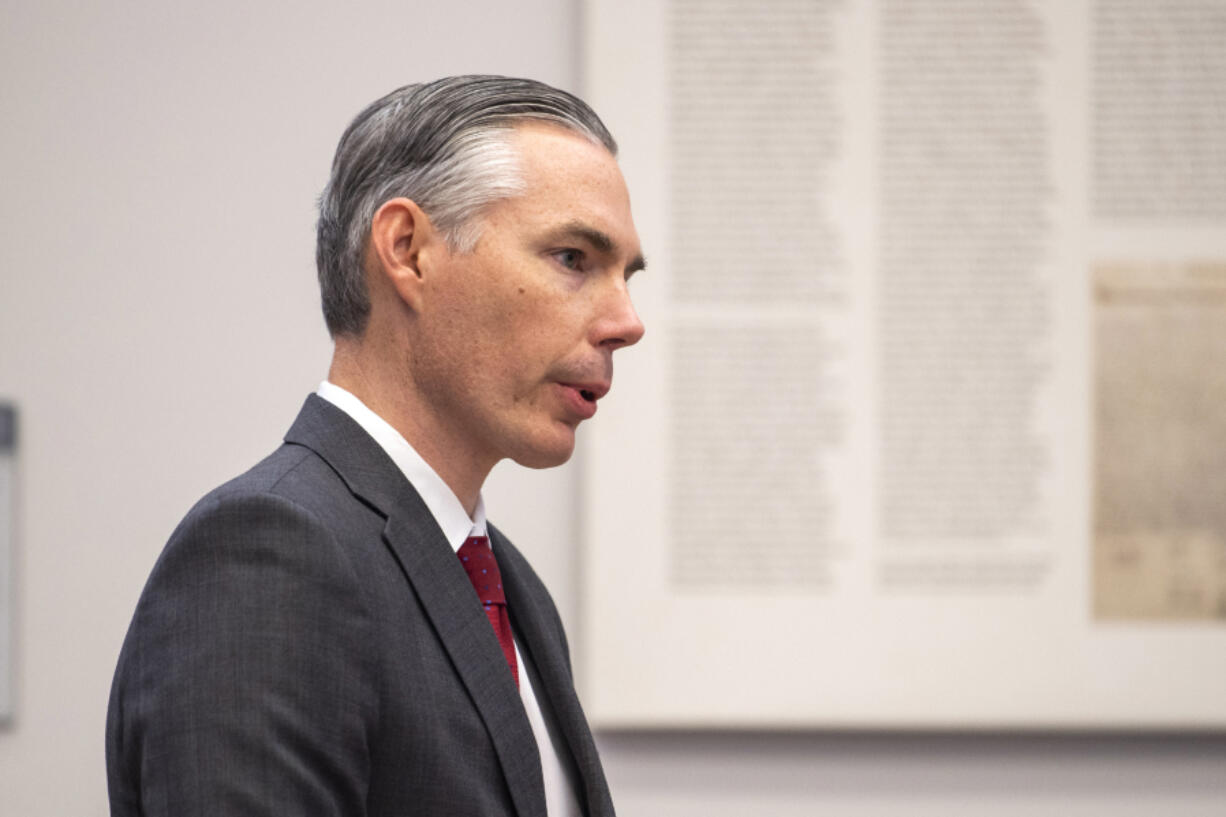 Senior Deputy Prosecutor James Smith speaks during the annual day of remembrance for homicide victims at the Public Service Center in Vancouver on Sept. 30, 2019. The Clark County Council recently appointed Smith to the District Court bench.