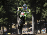Eli Tomac leads the pack before winning the 450 Class Moto #1 at the Washougal National Lucas Oil Pro Motocross at the Washougal MX Park on Saturday afternoon, July 28, 2018.