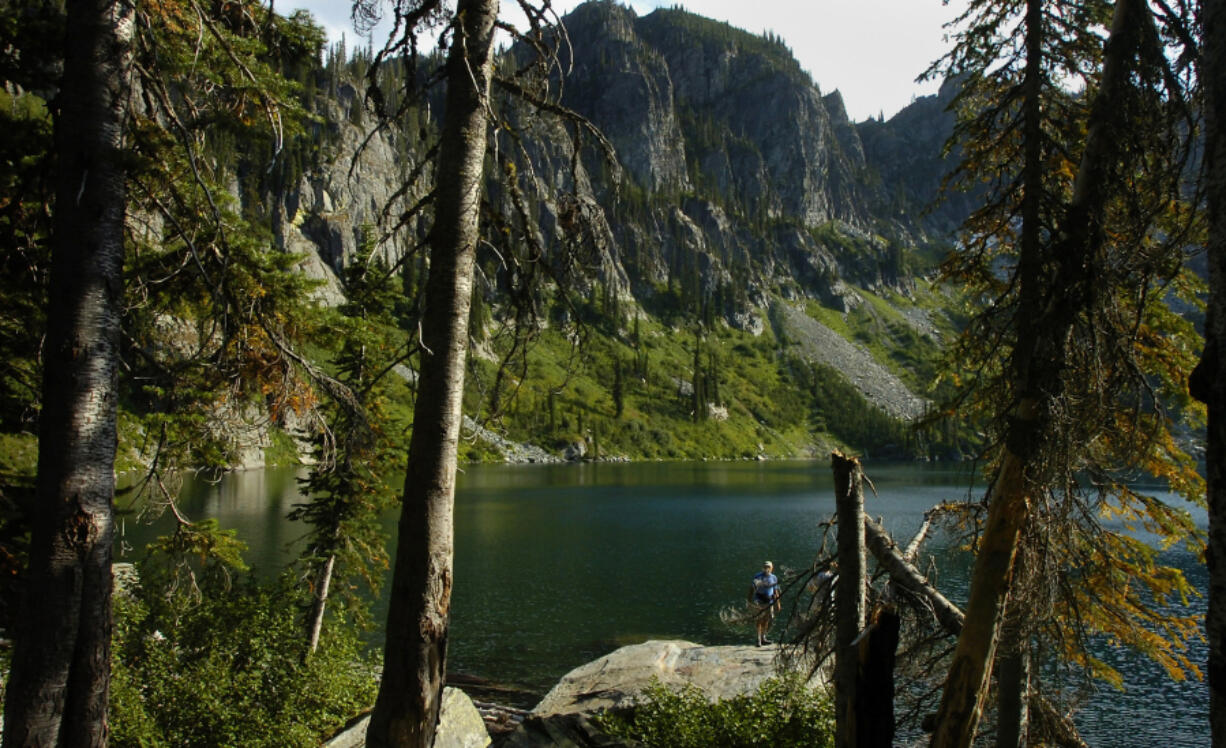 Spar Lake as seen during August 2006 on a two-day hike into the Scotchman Peaks area north of Clark Fork, Idaho.