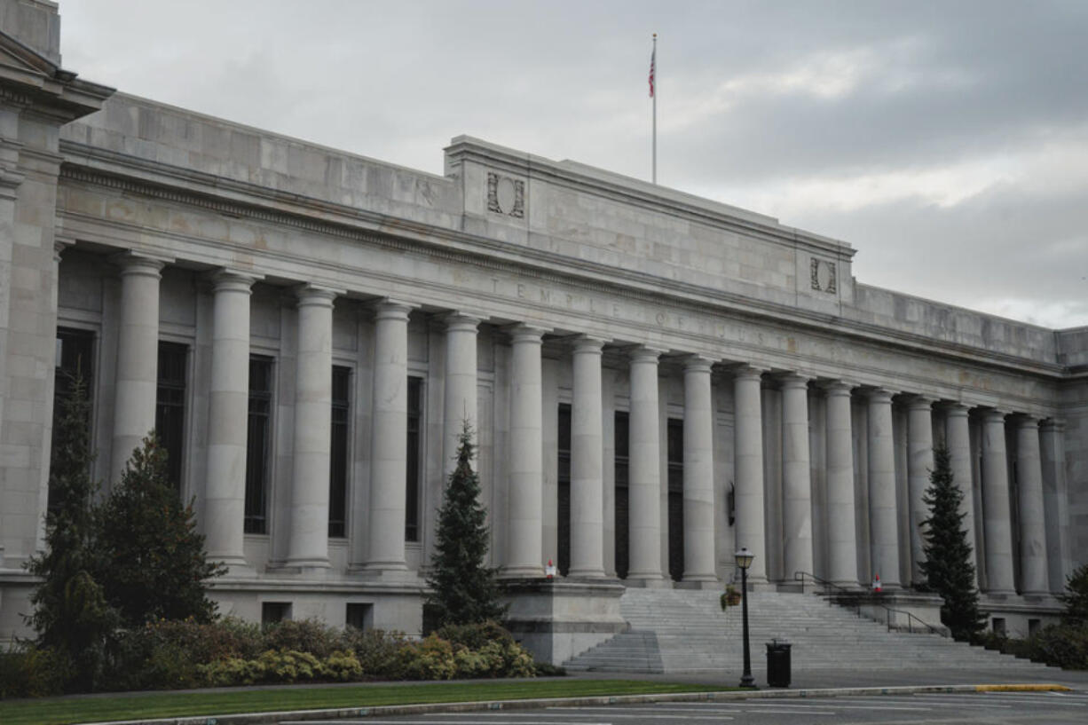 Washington State?s Supreme Court Building, also known as the Temple of Justice, photographed on Wednesday, Oct. 21, 2020, in Olympia, Wash.