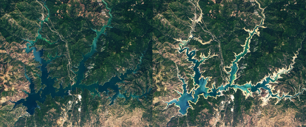 Satellite imagery shows Shasta Lake in July 2019, left, and June 2021. The state???s largest reservoir is at about 35% of its capacity, officials said.