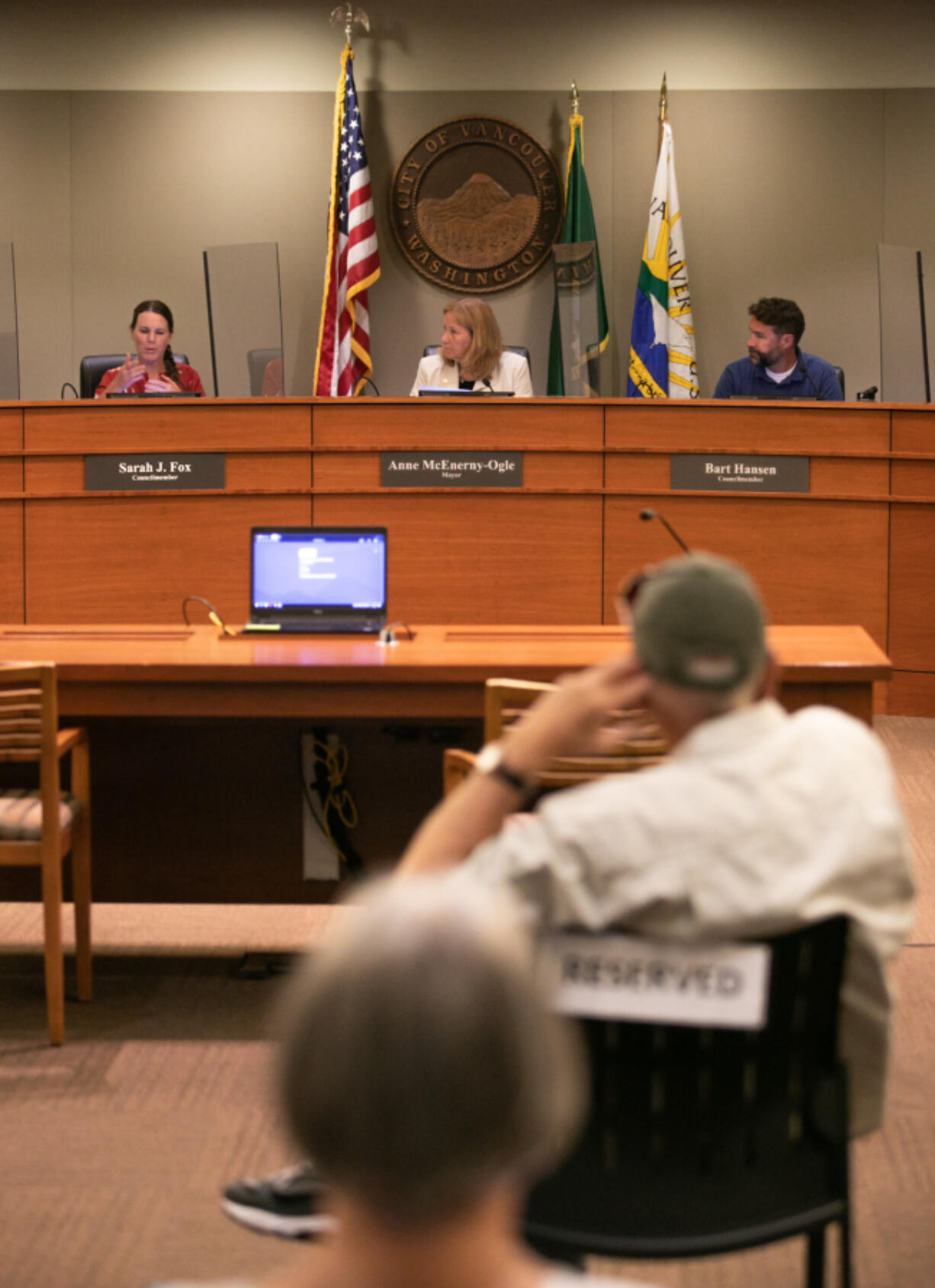 Vancouver City Councilor Sarah Fox speaks about the proposed Interstate 5 Bridge expansion as Mayor Anne Mc-Enerny-Ogle and Councilmember Bart Hansen listen on Monday night during the first city council meeting to be had in person since the pandemic shutdowns began at Vancouver City Hall.
