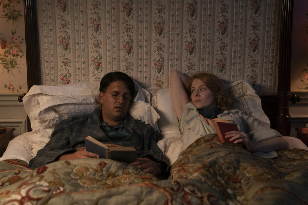 "Emily Beecham (right) and Shazad Latif in ""The Pursuit of Love."" (Robert Viglasky/Theodora Films/ Moonage Pictures/Amazon Studios/TNS)"