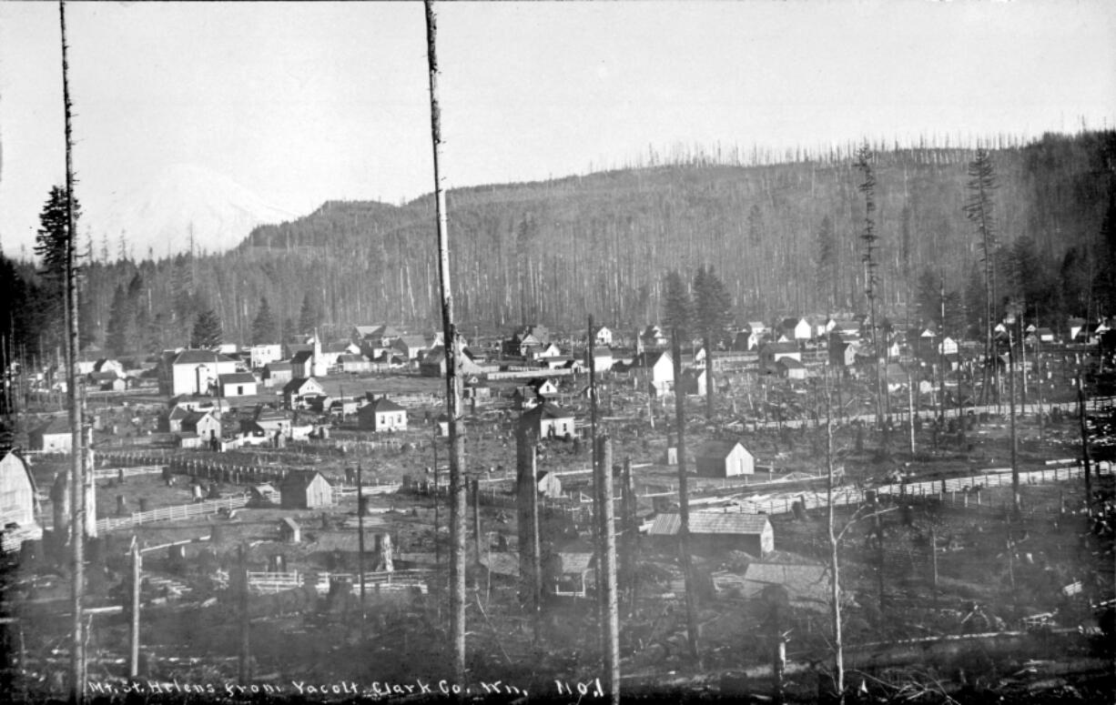The Yacolt Burn wildfire of 1902 laid waste to thousands of acres in three counties, claimed 38 lives and burned to the edge of Yacolt, as shown in this Weyerhaeuser Co. photo taken about 1903.