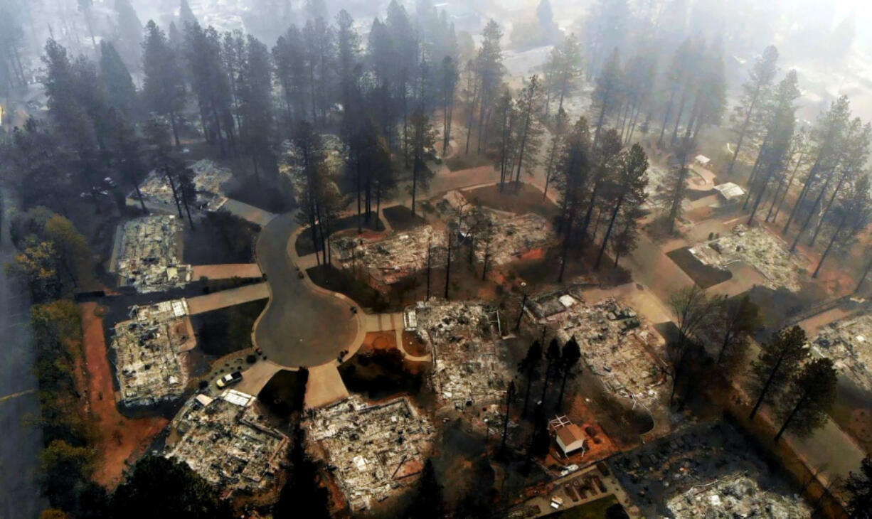 An aerial view of Paradise after the 2018 Camp fire.