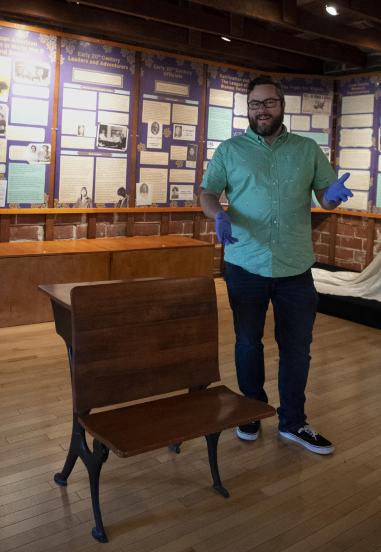 Clark County Historical Museum Executive Director Bradley Richardson talks about the history of this desk from the Columbian School and why the museum took it into its collection.